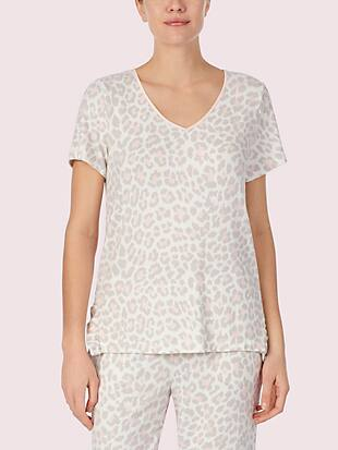 leopard short sleeve lounge top by kate spade new york non-hover view