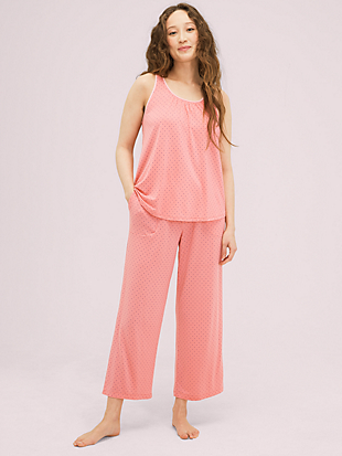 coral dot long pj set by kate spade new york non-hover view