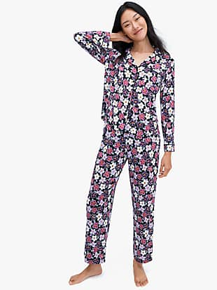 painted pansy long pj set by kate spade new york non-hover view