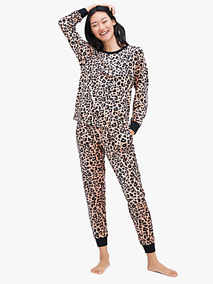 painted leopard jogger pj set by kate spade new york non-hover view