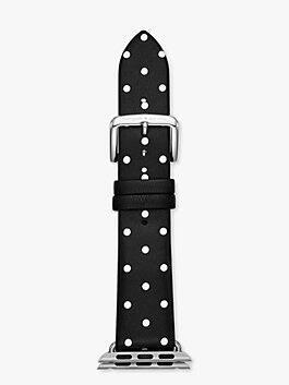 black dot leather 38/40mmapple watch® strap, black/ stainless steel, medium