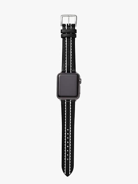 black scallop leather 38/40mm apple watch® strap by kate spade new york
