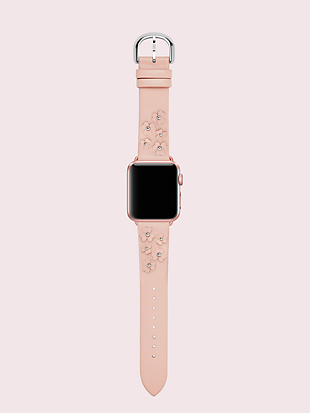 blush floral leather 38/40mm apple watch® strap by kate spade new york hover view