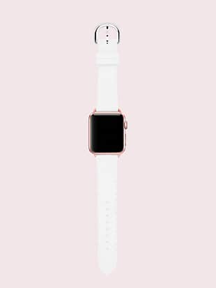 white scallop silicone 38/40mm apple watch® strap by kate spade new york hover view