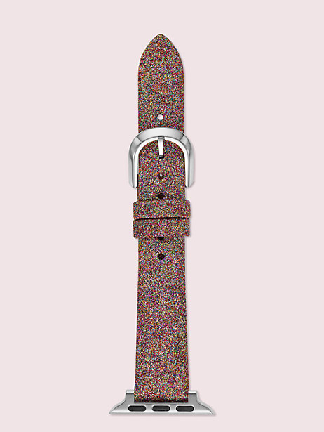 rainbow glitter leather 38/40mm apple watch® strap by kate spade new york