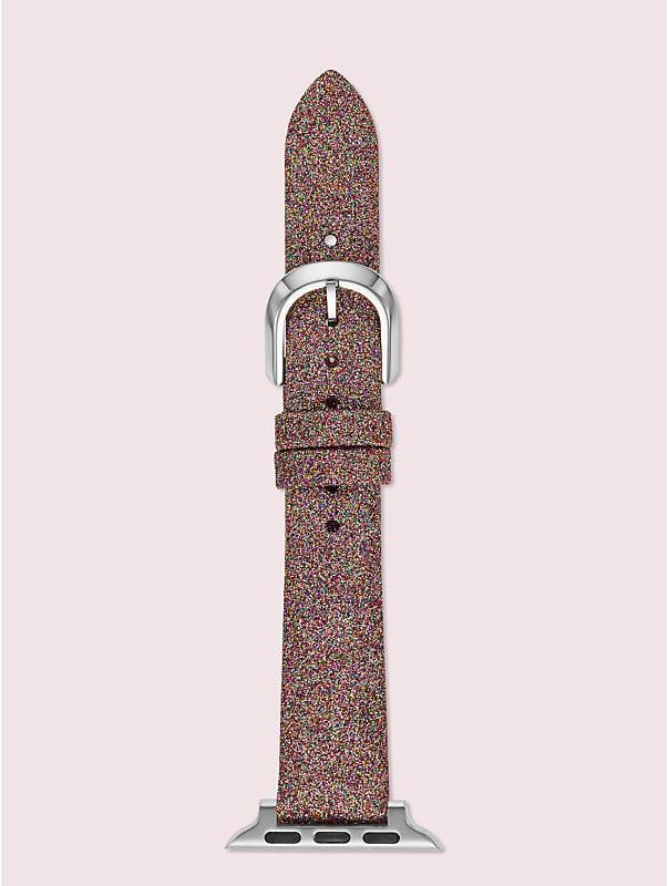 rainbow glitter leather 38/40mm apple watch® strap, , rr_large