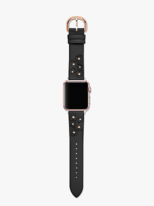 black floral appliqué leather 38/40mm apple watch® strap by kate spade new york hover view