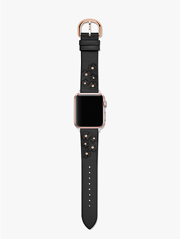 black floral appliqué leather 38/40mm apple watch® strap, , rr_productgrid