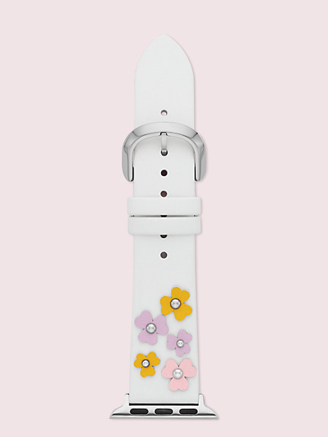 floral appliqué white leather 38/40mm band for apple watch® by kate spade new york