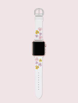 floral appliqué white leather 38/40mm band for apple watch® by kate spade new york hover view
