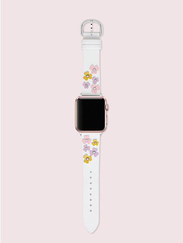 floral appliqué white leather 38/40mm band for apple watch®, , rr_productgrid
