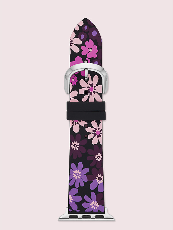 black floral-print silicone 38/40mm band for apple watch®, , rr_large