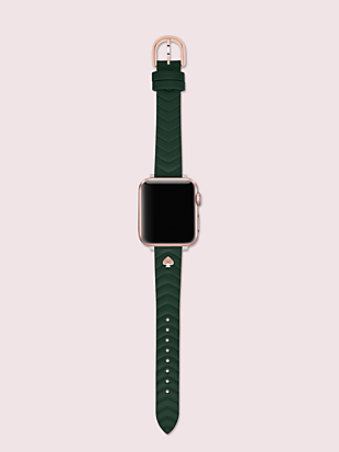 green quilted leather 38/40mm band for apple watch® by kate spade new york hover view