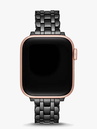 black stainless steel apple watch® scallop bracelet by kate spade new york non-hover view