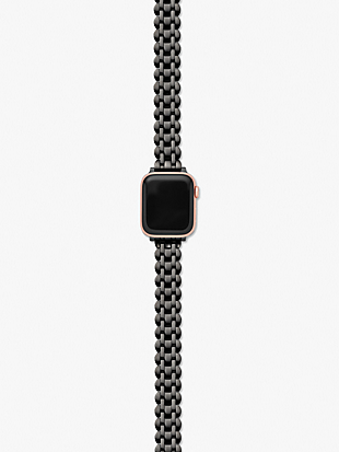black stainless steel apple watch® scallop bracelet by kate spade new york hover view