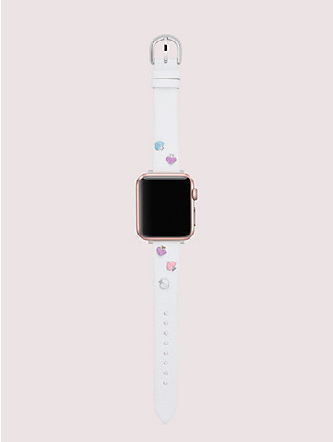 spade-stud white leather 38/40mm band for apple watch®, , rr_productgrid