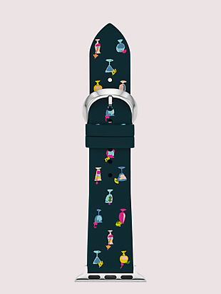 navy cocktail-print silicone 38/40mm apple watch® strap by kate spade new york non-hover view