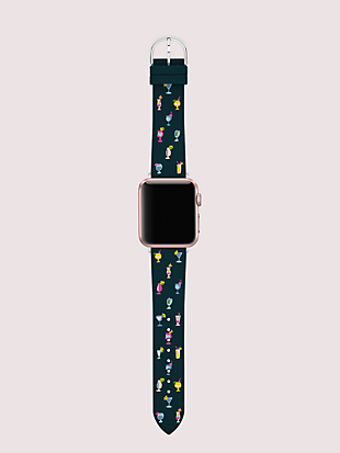 navy cocktail-print silicone 38/40mm apple watch® strap by kate spade new york hover view