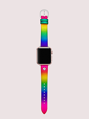 rainbow glitter leather 38/40mm band for apple watch® by kate spade new york hover view