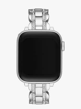 silver pavé scallop link band for for apple watch® by kate spade new york non-hover view