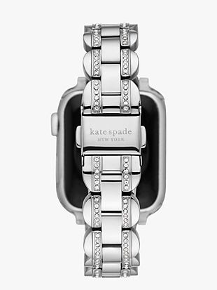 silver pavé scallop link band for for apple watch® by kate spade new york hover view