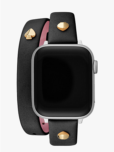 black double-wrap leather 38/40mm band for apple watch®, , rr_productgrid