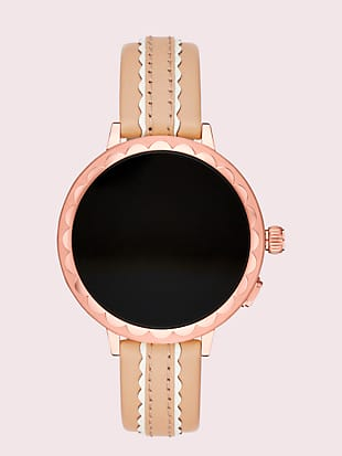 scallop vachetta leather smartwatch strap by kate spade new york non-hover view