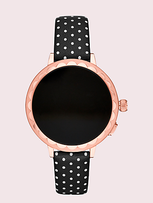 black dot leather smartwatch strap by kate spade new york hover view