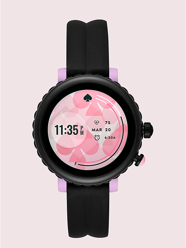 black silicone scallop sport smartwatch, , rr_large