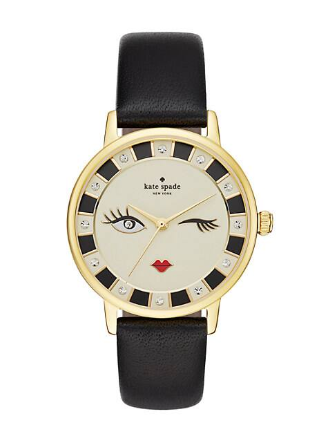 metro wink black leather watch by kate spade new york