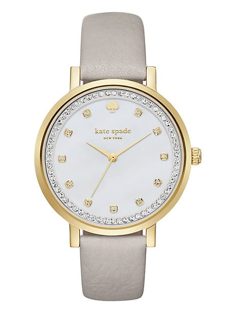 monterey pave crystal grey leather watch by kate spade new york