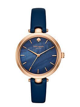 holland skinny strap watch, navy / rose gold, medium