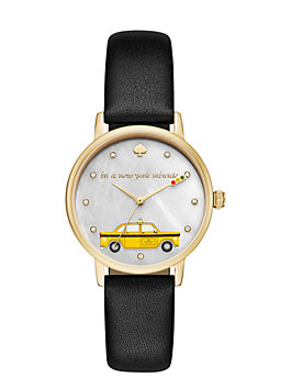 new york minute metro watch, gold/black, medium