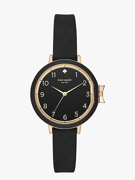 black silicone park row watch  by kate spade new york