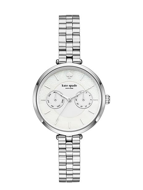holland chronograph silver-tone bracelet watch by kate spade new york