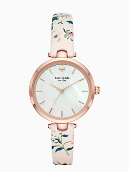 holland floral leather watch, blush, medium