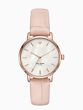 metro pink croc-embossed leather watch, blush, medium