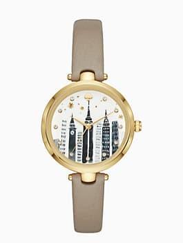 holland cityscape grey leather watch, clocktower grey, medium