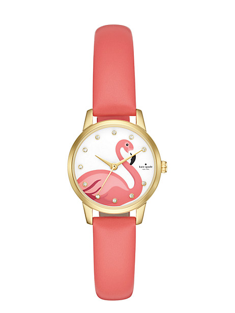 metro mini flamingo pink leather watch by kate spade new york