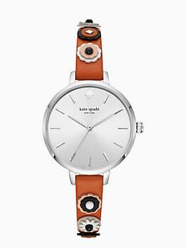 metro western rivet brown leather watch, luggage, medium