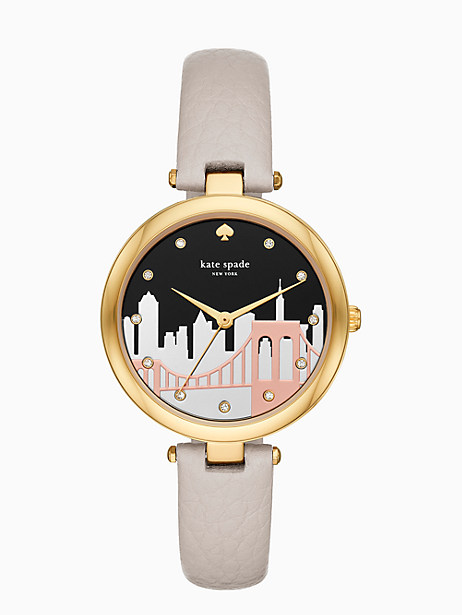 varick cityscape grey leather watch by kate spade new york