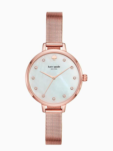 metro rose gold-tone stainless steel mesh bracelet watch by kate spade new york