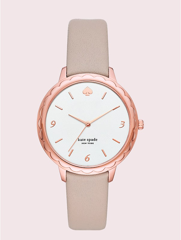metro slim taupe leather watch, , rr_large