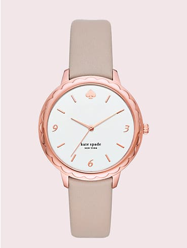 metro slim taupe leather watch, , rr_productgrid