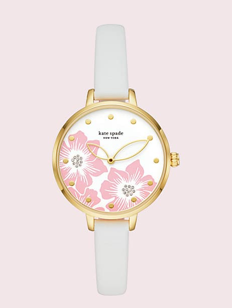 metro white leather watch by kate spade new york