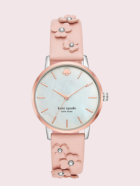 metro floral vachetta leather watch by kate spade new york