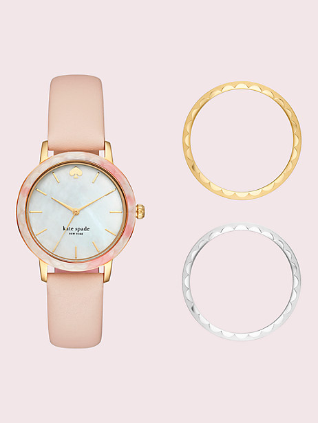 morningside interchangeable top ring leather watch by kate spade new york