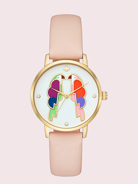 metro parrot blush leather watch by kate spade new york