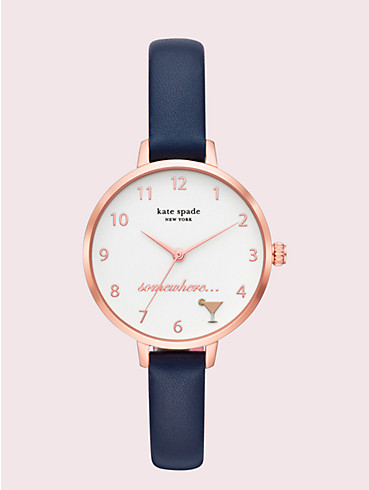 metro navy leather watch, , rr_productgrid