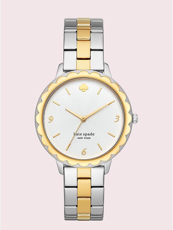 Morningside Armbanduhr aus zweifarbigem Edelstahl mit Muschelrand, , rr_large